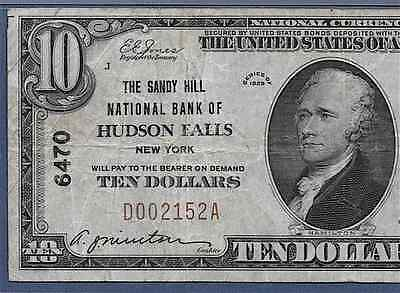 Ny 1929 $10    ♚♚Hudson Falls, New York♚♚ Pmg Vf 25   The Sandy Hill Nb