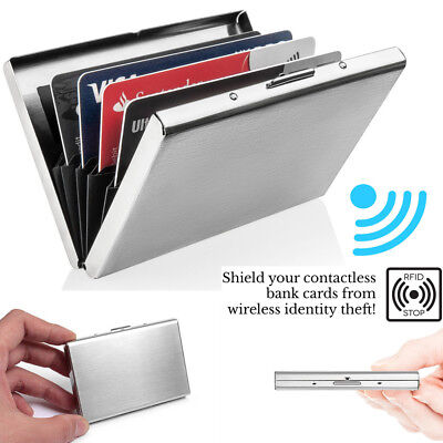 Aluminum Metal Slim Anti-Scan Credit Card Holder RFID Blocking Thin Wallet Case