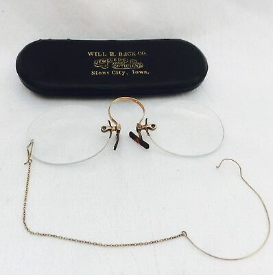 ANTIQUE GOLD Tone / Filled? PINCE Nez SPECTACLES w/ Earwire & Chain w/ Case