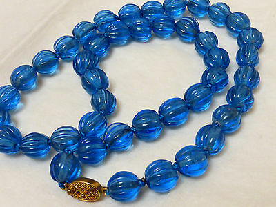 Chinese Vintage Blue Carved Melon Peking Glass Beads Necklace, Silver Clasp