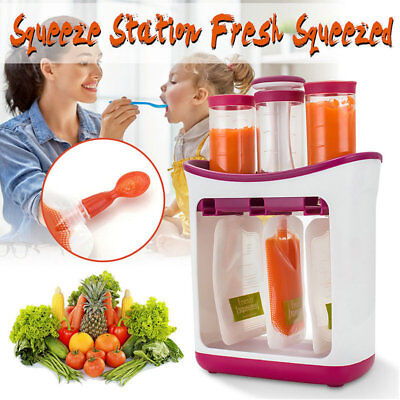 Baby Feeding Food Squeeze Station Toddler Infant Fruit Maker Dispenser Storage E