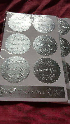 Stickers -  Thank You - Silver Seal -Set of 18