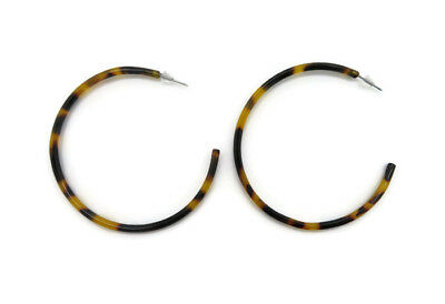 Women's Resin Acrylic Tortoise Shell Round Circle Hoop Drop Earrings