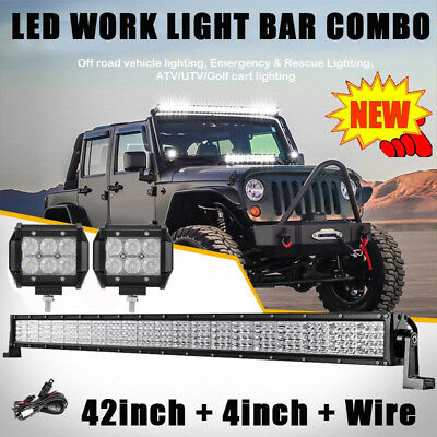 "42inch 2880W PHILIPS Spot Flood Combo LED Work Light Bar + 2X4"" Fog Motor Lamp"