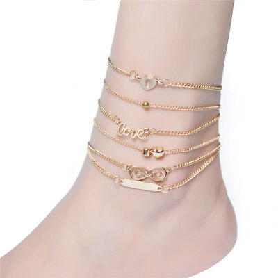 6PCS Boho Multilayer Heart Infinity Anklet Foot Chain Ankle Bracelet Jewelry  I