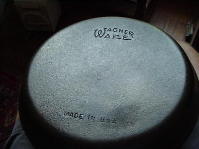 "Wagner Ware 10"" Cast Iron Skillet Cleaned and Seasoned Rare shallow edge"