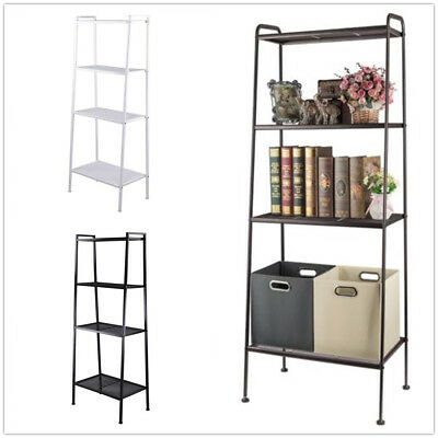 US 4 Tier Leaning Ladder Shelf Bookcase Bookshelf Storage Shelves Display