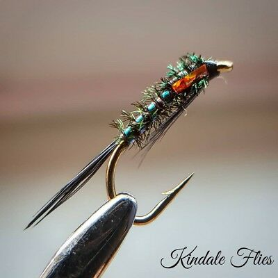 Holo Orange Cheek Diawl Bach size 14 (Set of 3) Fly Fishing Flies Bung Buzzers