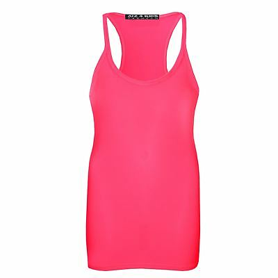 Kids Girls Racer Back Vest Neon Pink Top Stylish Fashion Tank Tops T Shirt 5-13Y