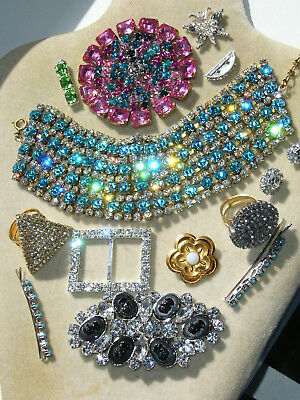 1960s NICE VINTAGE  ANTIQUE CZECH RHINESTONES LOT OF JEWERLY MIX *SIGNED*   T315