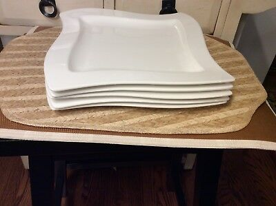 """Villeroy & Boch New Wave Lot of (5) White 10"""" Square Dinner Plates"""