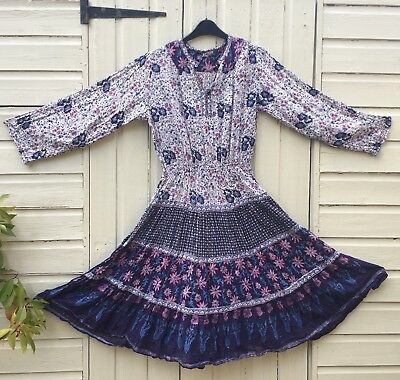 Vintage 1970s Indian Cotton Gauze Floral Lurex Dress S 8 10 Boho Hippy Spell