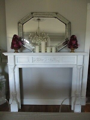 Vintage White Fireplace Wood Carved Mantel