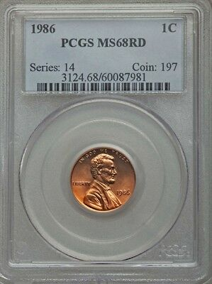 1986 Lincoln Cent MS68 RD PCGS  -- POP OF 47/ONLY 2 GRADED HIGHER