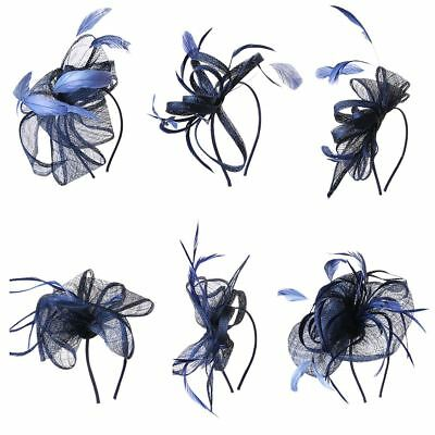 Ladies Navy Blue Flower Feather Fascinator Aliceband Hat Hair band Formal Royal