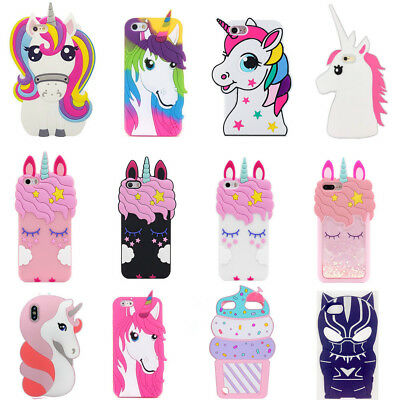 outlet store d9669 dce58 CUTE 3D UNICORN Cartoon Soft Silicone Case Cover Skin For iPhone8 Samsung  S9 S10