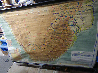 HUGE vintage 1950 School Wall Map South Africa Philip 72 x 48