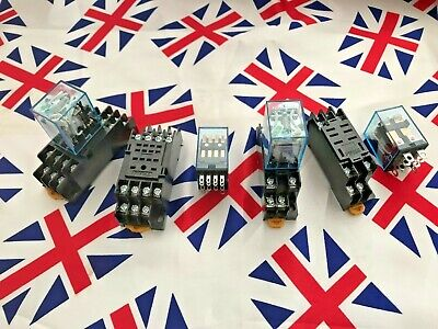 ⭐ 12V 24V 240V Coil General purpose Relays 8/14 Pin with DIN Sockets DPDT 4PDT ⭐