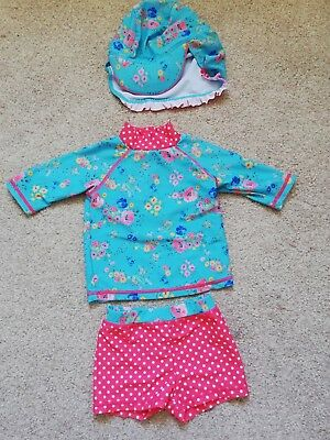 eadb584a4da8e Mini club sunsafe Swimsuit Baby Girls 6-9 Months UPF50+ Floral 2 Pieces  plus hat