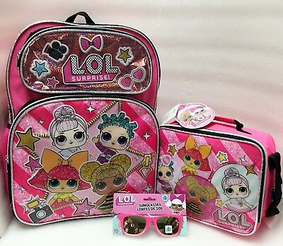 L.O.LSurprise Girls Sunglassess School Book bag Backpack Lunch Box+Sunglasses