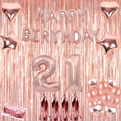 Rose Gold 16/18/21st/30/40/50 Latex Number Happy Birthday Balloons Party Curtain