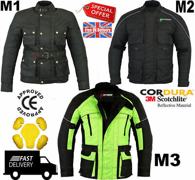 MOTROX Mens Waterproof Genuine Motorbike Motorcycle Cordura Jacket CE Armoured