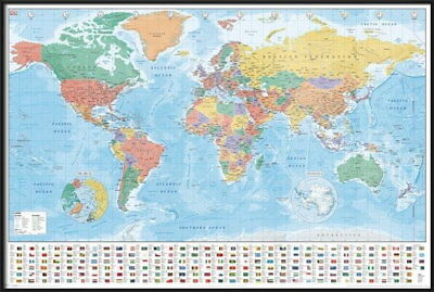 91811 POLITICAL MAP OF THE WORLD WORLD MAP WITH FLAGS Decor WALL PRINT POSTER DE