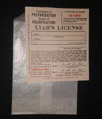 1960-62 LIAR'S LICENSE NOVELTY FUNNY GREAT HUMOROUS GAG GIFT collectible RARE