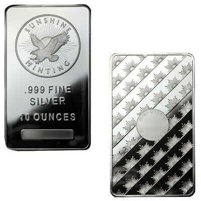10 oz Sunshine Silver Bar (New, MintMark SI, Lot of 2)