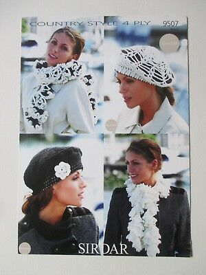 916b5c23121 Sirdar Crochet Pattern 9507 Ladies Beret And Scarves In Country Style 4 Ply