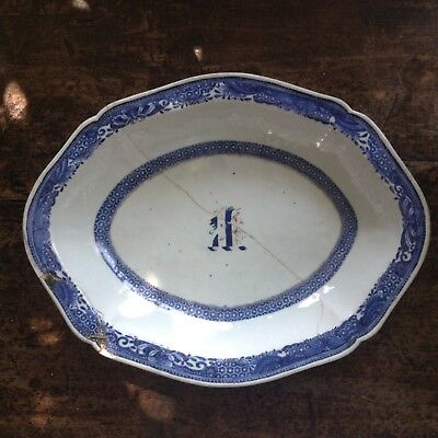Chinese Qianlong 18th c Gale Armorial water Dish with stapled repair