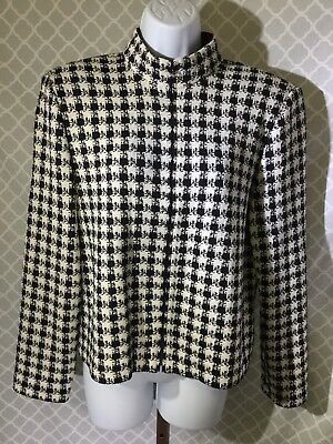 24ff84a73 ST JOHN COLLECTION Black White Houndstooth Knit Jacket 8 -  38.50 ...