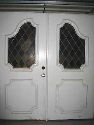 """Vintage Front Entry Doors, 6' w x 1 3/4"""" thick, painted, circa 1960"""