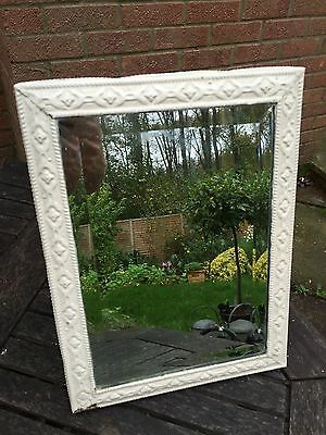 VINTAGE ORNATE Brass MIRROR DRESSING TABLE STYLE Painted White.