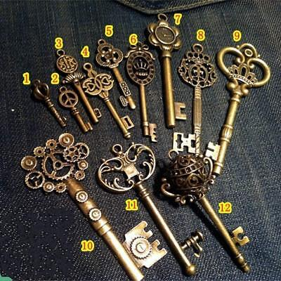 Large Skeleton Keys Antique Bronze Collectibles Vintage Wedding Decor Set of 12