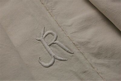 """100 Year Old French Linen Blend Sheet JR Mono 80"""" x 104"""" Very Good Thick Stiff"""