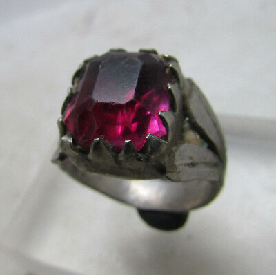 Lovely Post Medieval Silvered Ring With Faceted Glass Insert