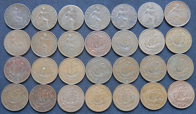 Great Britain (Uk), 28 Different Years Half Penny Coins 1861 To 1967