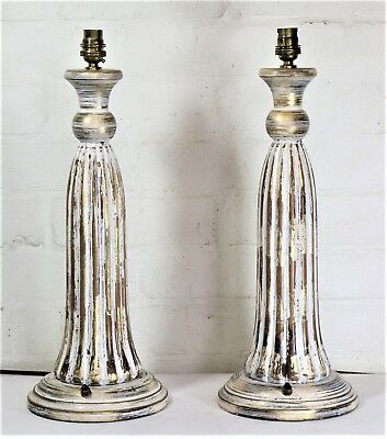 A Pair of Large Vintage Shabby Chic Gilt Carved Wooden Table Lamps Antique Style