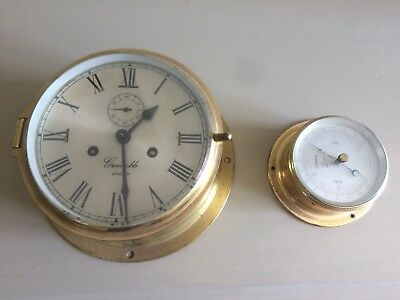 Ships Clock and barometer Grenoble Mechanical Wind up Brass
