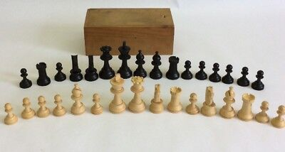 Vintage Antique French Wood Wooden Chess Set Hand Carved W/ Box