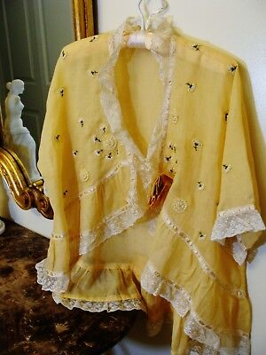 Romantic Early 1900's Yellow Silk Embroidered Bed Jacket