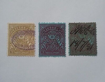 Victoria Stamp Duty 3/- shillings used - different types