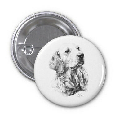 Mike Sibley Golden Retriever Dog Breed High Spec Metal Pin Badge 38mm/59mm Gift
