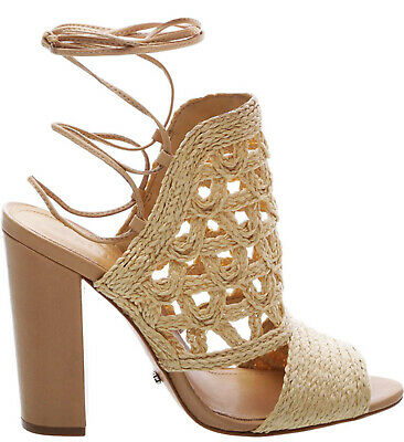 f37833d8a0f2 SCHUTZ Loretto Nat Nude Handwoven Straw Lace-up High Sandal Tie Around  Sandals