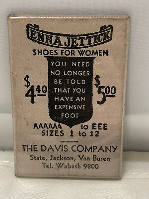 Vintage Advertising Mirror Enna Jettick Shoes Women The Davis Company Chicago IL