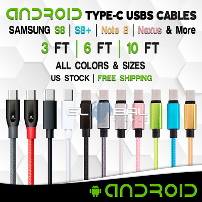 Type C USB-C Cable 3FT/6FT/10FT Samsung S8 Plus USB Charger Braided Adapter Lot