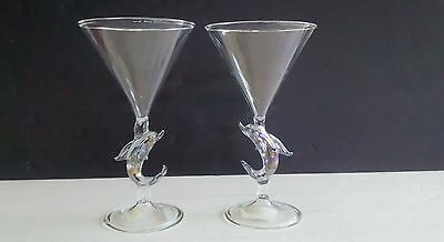 Set Of Handmade Dolphin themed 6 oz Glass Champagne Toast Goblet's By L & S Arts