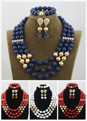 White Blue Red Angel Skin African Nigerian Beads Party Wedding Jewellery set