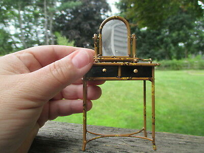 Dollhouse Miniatures Painted Bamboo Metal Vanity & Mirror Colin Roberson ~ CYR